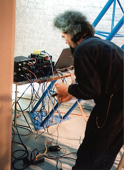 Godfried-Willem Raes sets up for a performance